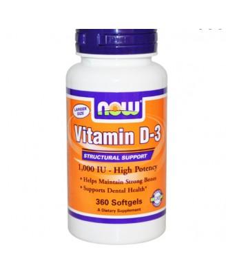 Now Foods, Vitamin D-3, High Potency, 1,000 IU, 360 Softgels