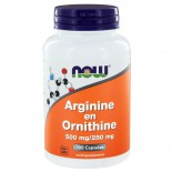 Arginine en Ornithine 500/250 mg (100 caps) - NOW Foods