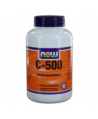 C-500 Kauwtabletten Sinaasappelsmaak (100 kauwtabs) - NOW Foods