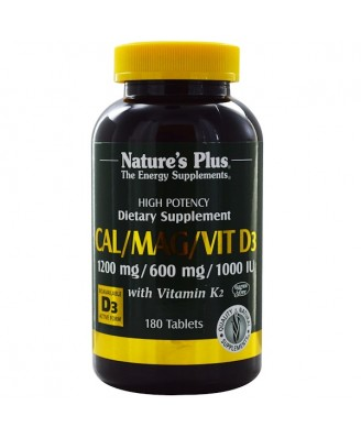 Cal/Mag/Vit D3 with Vitamin K2 (180 Tablets) - Nature's Plus