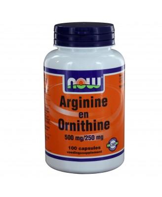 Arginine en Ornithine 500/250 mg (100 caps) - NOW Foods