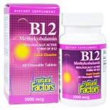 B12- Methylcobalamin- 5000 mcg (60 chewable tablets) - Natural Factors