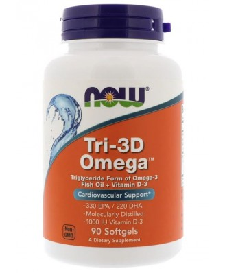 Tri-3D Omega 330 EPA/220 DHA (90 softgels) - Now Foods