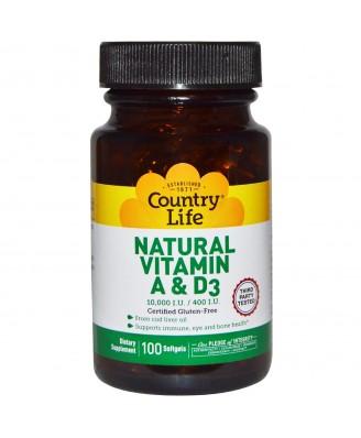 Country Life, Natural Vitamin A & D3, 10,000 IU/400 IU, 100 Softgels