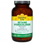Betaine Hydrochloride with Pepsin 600 mg (250 Tablets) - Country Life