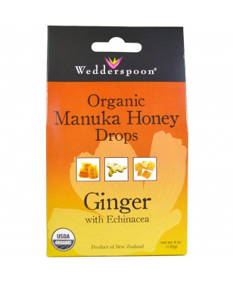 Wedderspoon Organic, Inc., Organic Manuka Honey Drops, Ginger with Echinacea, 4 oz (120 g)