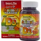 Vitamin D3, Natural Black Cherry Flavor, 500 IU (90 Animals) - Nature's Plus