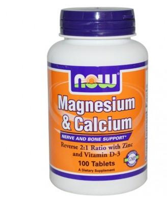Magnesium en Calcium 2:1 (100 tabletten) - Now Foods