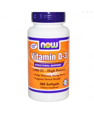 Vitamine D3, Hoge Dosering, 1000 IE (360 Softgels) - Now Foods