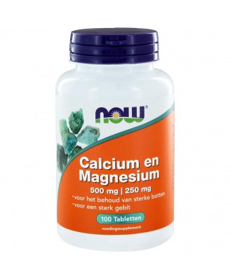 Calcium 500 mg en Magnesium 250 mg (100 tabs) - NOW Foods
