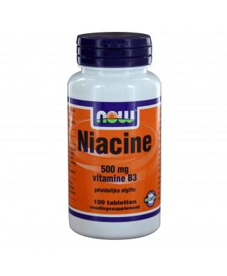 Niacine 500 mg vitamine B3 geleidelijke afgifte (100 tabs) - NOW Foods