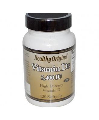 Vitamin D3- 2400 IU (120 Softgels) - Healthy Origins