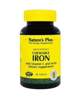 Chewable Iron, Cherry Flavor (90 Tablets) - Nature's Plus