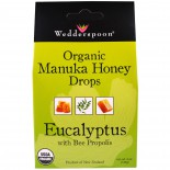 Organic Manuka Honey Drops Eucalyptus with Bee Propolis (120 gram) - Wedderspoon Organic