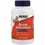Brain Attention- Natural Chocolate Flavor (60 chewable tablets) - Now Foods