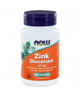 Zink Gluconaat 50 mg (100 tabs) - NOW Foods