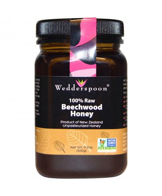 100% Raw Beechwood Honey (500 gram) - Wedderspoon Organic