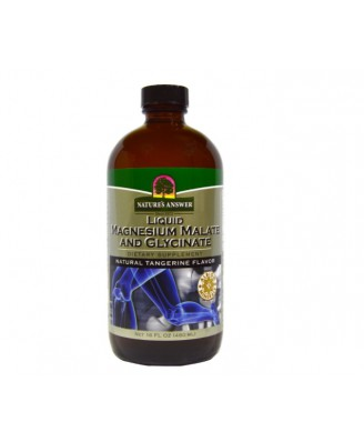Liquid Magnesium Malate and Glycinate, Natural Tangerine Flavor (480 ml) - Nature's Answer