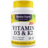 Vitamin D3 & K2, 50mcg/200mcg, 60 Softgels, Healthy Origins