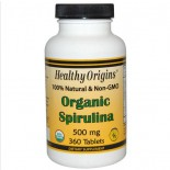 Healthy Origins, Organic Spirulina, 500 mg, 360 Tablets