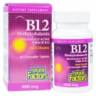 B12- Methylcobalamin- 5000 mcg (60 chewable tablets) - Natural Factors