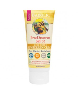 Badger Company, Zinc Oxide Sunscreen Cream, SPF 30, Unscented, 2.9 fl oz (87 ml)