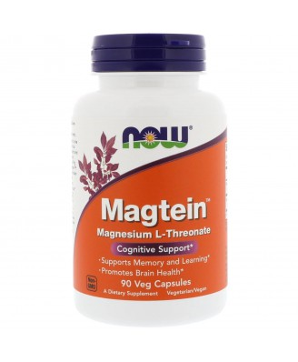 Magtein Magnesium L-Threonate (90 Vegetarian Capsules) - Now Foods