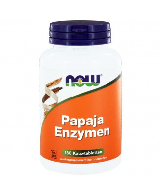 Now Foods, kauwtabletten Papaya enzymen, 180 kauwtabletten