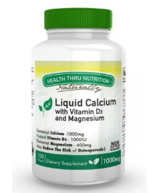 Calcium 1000 mg / Magnesium 400 mg + 1000iu D3 (non-GMO) (100 Softgels) - Health Thru Nutrition