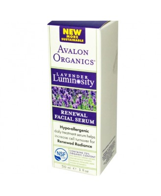 Avalon Organics, Renewal Facial Serum, Lavender Luminosity, 1 fl oz (30 ml)