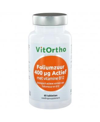 Foliumzuur 400 μg Actief met Vitamine B12 (60 tabs) - VitOrtho