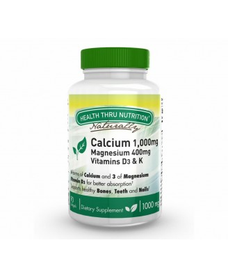 Calcium 1000 mg and Magnesium 400 mg with 100iu D3 & K (90 Softgels) - Health Thru Nutrition